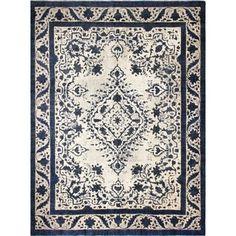 Vintage Sofia Blue/ Ivory Wool Area Rug (9'5 x 12'8)