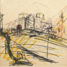 Frank Auerbach (British, b. working drawing for the Mornington Crescent station paintings. Pencil and crayon on paper, x 22 cm. Landscape Drawings, Art Drawings, Pen Sketch, Sketches, Frank Auerbach, Art Postal, Working Drawing, Charcoal Art, Collage
