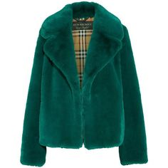 Burberry Burberry - Faux Fur Coat - Jade ($1,705) ❤ liked on Polyvore featuring outerwear, coats, jackets, faux fur coat, burberry, evening coat, fake fur coat and green coats