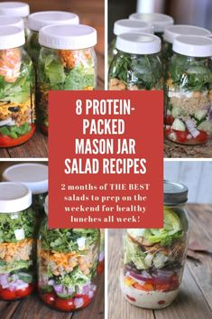 8 Protein-packed Mason Jar Salad Recipes You Need To Make This Weekend! Mason jar salad recipes are, hands down, my favorite meal prep recipe. Mason Jar Lunch, Mason Jar Meals, Meals In A Jar, Mason Jar Recipes, Salad In Mason Jar, Mason Jar Drinks, Meals For The Week, Healthy Meal Prep, Healthy Salads