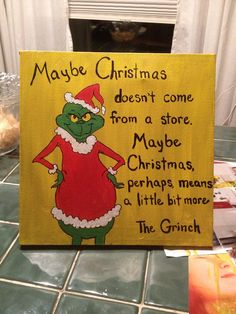 The Grinch christmas canvas on Etsy, $25.00