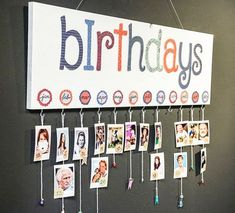 DIY: instax Geburtstagskalender Craft idea for birthday calendar of the family. Photo wall for birth Decoration Creche, Class Decoration, Birthday Calendar Board, Birthday Calendar Classroom, Birthday Display In Classroom, Birthday Display Board, Classroom Family Tree, Preschool Birthday Board, Diy And Crafts