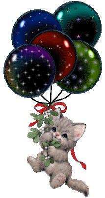 Kat met balonnen