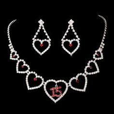 Quinceanera, Sweet 15 Necklace with Heart and Red Rhinestone Accents!