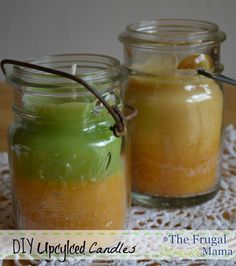 Upcycled DIY Homemade Candles - The Frugal Greenish Mama