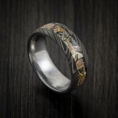 King's Camo Mountain Shadow and Damascus Steel Ring Acid Finish