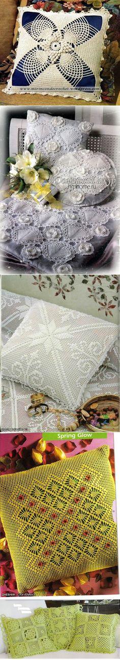 Cuscini decorano il gancio. | Вяжем пледы покрывала скатерти шторы салфетки | Постила
