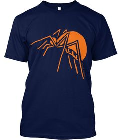 Spider. Originally drawn in the margins of college class notes by artist Roger E. Anderson, this spider is elegant and simple.Now in orange on as many as 13 different colors. Orange on black is the perfect combination for Halloween enthusiasts who don't like a garish costume, but still like to have something commemorating the holiday.Enjoy!
