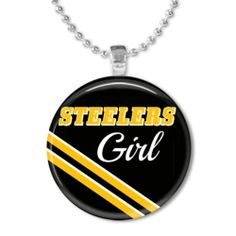 ALL TEAMS AVAILABLE!  -  Wood Tile Photo Pendant - Pittsburgh Steelers Girl Football Fan - Necklace IMG1