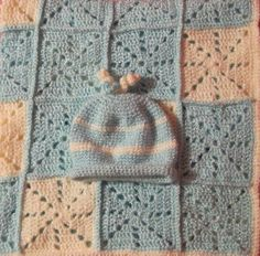 Square Dance Baby girl/boy blanket and matching by TalicakeCrochet, $34.00