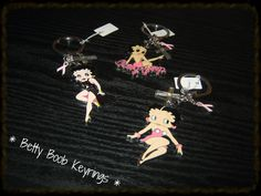 Assorted Betty Boob Key chains @ R35-00 each to promote Breast Cancer Awareness.