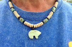 Unisex Magnesite Zuni Bear Necklace by WirednStrung on Etsy