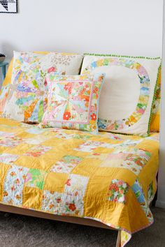 Vintage Quilt,  Sham and Pillows in Sunny Yellow  re-purposed from sheets Summer