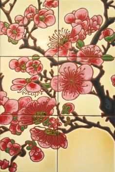 Cherry Blossum Glazed Tile Mural  by LoftinTileworks on Etsy, $180.00