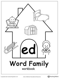ED Word Family Workbook for Kindergarten: Use our ED Word Family Workbook to help your child develop a wide range of skills including phonics, reading, writing, drawing, coloring, thinking skills, sorting, and more. The ED Word Family Workbook includes several engaging printable worksheets.