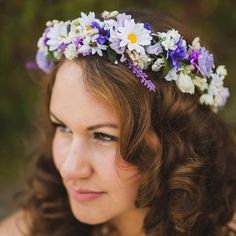 Boho Bridal Flower Crown Headpiece Floral hair by AmoreBride