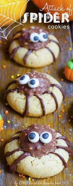 Attack of Spider Cookies | OMGChocolateDesserts.com | #chocolate #cookies #Halloween #spider #DIY