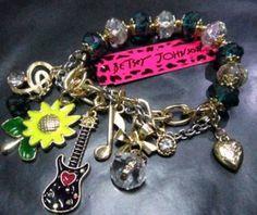 Betsey Johnson Pink & Black Guitar Bracelet & Free Gift USA…