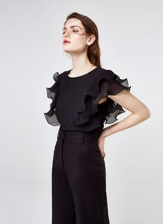 Uterqüe Sweden Product Page - New in - View all - T-shirt with ruffled sleeves - 950