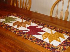 Thanksgiving Leaves Quilted Table Runner by QuiltedCreationsByMe