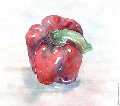 Купить Перец - бордовый, перец, кухня, натюрморт, овощи, акварель, бумага-лен