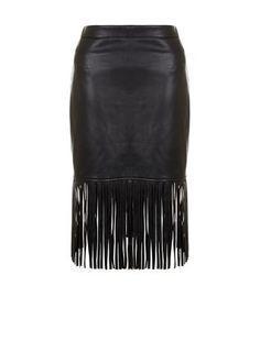 Jupe crayon noire à franges et imitation cuir   New Look Jupe Fourreau, Jupe  Crayon d8901a24c125