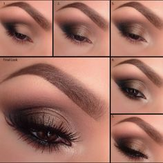 """Pictorial by @elymarino using NEW Motives Mavens Element Color Box!1. Blending """"Native"""" in the eyelid crease and slightly above. Add """"Raven"""" to the outer corner and slightly in the crease. 2. Add """"Truffle"""", making sure they blend well where they meet, followed by """"Serene."""" 3. Apply """"Shell"""" to the inner corner of the eye. 4. Smudge """"Truffle"""" underneath the eye for some depth. Line the water line with Motives Khol Liner in """"Onyx."""" 5. Apply your favorite Motives mascara to complete the look!"""