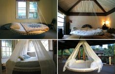 Old trampolines can be salvaged to create stunning and useful outdoor swing beds. Outdoor daybeds are a luxurious addition to any backyard.