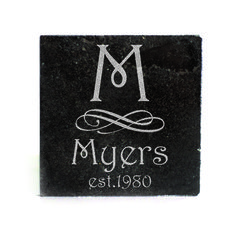 Black Granite Coasters (set of 4) - Monogram with Swirl Design Personalized with name and Est. Date