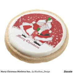 Shop Merry Christmas Mistletoe Santa Cookies created by BlueRose_Design. Christmas Treats, Christmas Stuff, Christmas Cookies, Merry Christmas, Shortbread Cookies, Cake Cookies, Square Cookies, Santa Cookies, Cookie Gifts