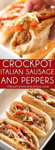 Crockpot Sausage and Peppers: This Italian sausage and peppers is one of my favorite, easy, crockpot dinner recipes that the whole family will love! The best sausage and peppers simmered in marinara sauce right in the slow cooker, perfect for sausage and pepper sandwiches or served over pasta!