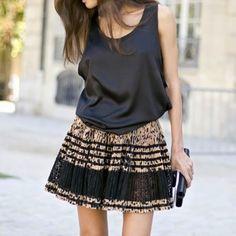 Black Silk Tank & fun skirt. Such an easy, basic look. Add Bling !