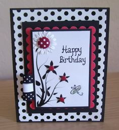 Birthday card #Black, White and Red# polka dots and flowers