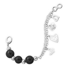 Sterling Silver Charm Bracelet with Black Onyx