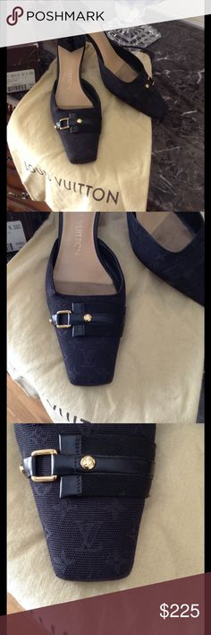 Authentic Louis Vuitton Mule 38👠 A beautiful black Louis Vuitton monogram Signature & leather design. Just been a great all around heel 😘 Louis Vuitton Shoes Heels