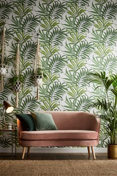 Organic and sophisticated, Yasuni Lush Green has been created through inspiration from the Yasuni National Park in Ecuador. This vibrant tropical design was handpainted in the Graham and Brown studio, enhanced with soft metallic detailing. Look Wallpaper, Green Wallpaper, Wall Wallpaper, Wallpaper Designs, Leaves Wallpaper, Modern Wallpaper, Wallpaper Online, Tropical Design, Tropical Decor