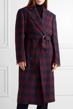 Calvin Klein   Midnight-blue and red wool double-breasted coat