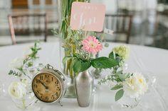 The NotWedding Athens satellite single bud vases create a nice anchor for soaring centerpieces. Liddabits/ paper Southern Vintage/rentals Holland Daze/ florals