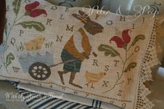 With Thy Needle and Thread (an Iowa designer!!) wonderful nostalgic piece. Love the buggy and chick.