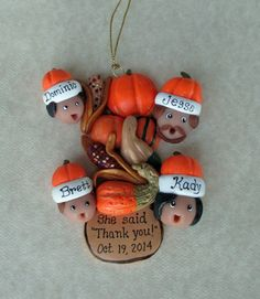A Personalized Fall ornament after an engagement.  www.etsy.com/shop/hookedonclay