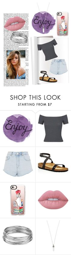 """That summer feeling!!!☀️"" by jerney-quotes ❤ liked on Polyvore featuring Miss Selfridge, Topshop, Birkenstock, Casetify, Lime Crime, Aqua and Marc Jacobs"