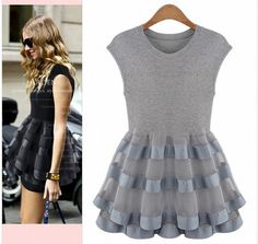 2014 New Popular  Lace Knit Dress Korean Shopping Stitching Stretch Organza  C #Unbranded #Peplum #Casual