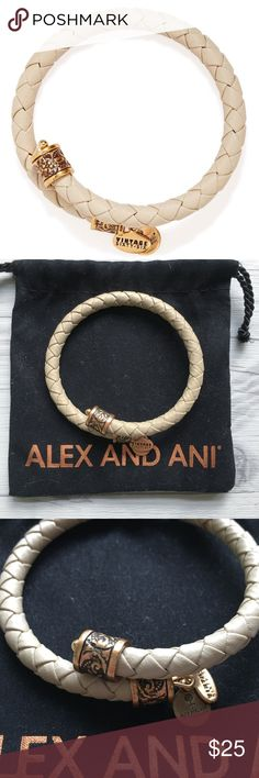 🆕 Alex & Ani Braided Leather Wrap Bracelet Alex and Ani braided leather wrap bracelet in pale tan/beige. Excellent gently worn condition. Comes with Alex and Ani drawstring bag. Alex and Ani Jewelry Bracelets