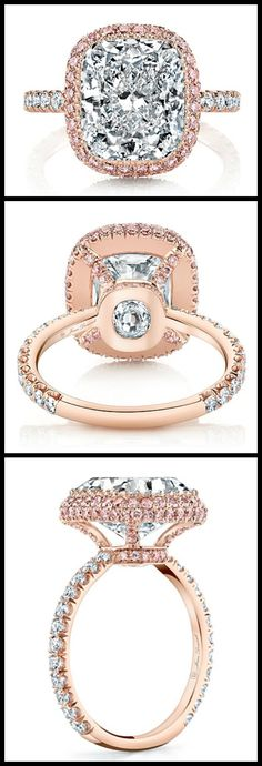 Jean Dousset rose engagement ring with pink diamond accents and a gorgeous cushion cut center stone.
