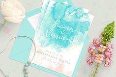 Einladung zur Hochzeit | Vintage Einladung | Pastell und Wasserfarben Optik