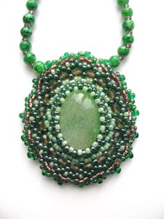 Bead Embrpoidery Necklace Green Agate Pendant Jade by Invozho, €42.00