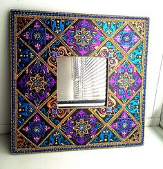 Mirror, mirror on the wall🔮 Mirror Mosaic, Mosaic Art, Mosaic Glass, Mirror Mirror, Mandala Art, Mandala Painting, Painted Rocks, Hand Painted, Dot Art Painting