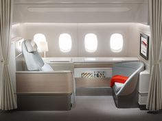 Air France has revealed its new La Premiere first class suite ahead of a September 2014 debut on the airline's Boeing fleet. Only four of the suites will be installed on each of Air France. Best First Class Airline, First Class Flights, Airplane Seats, First Class Seats, First Class Plane, First Class Hotel, Flying First Class, Trains, Aircraft Interiors