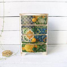 Весна Любовь винтажный вид Мини-деревянный сундук ящики, аптекарь кабинет, Boho Stile, романтичный, зеленый, синий, желтый