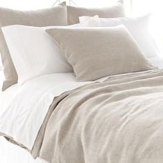 Pine Cone Hill | Stone Washed Linen Duvet Cover | Take a tailored approach to bed dressing with our machine-washable 100% linen duvet cover in a sandy, does-it-all neutral. Hidden-button closure.